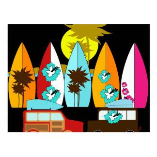 Carte Postale Fourgons surfants sans valeur de hippie de surfer