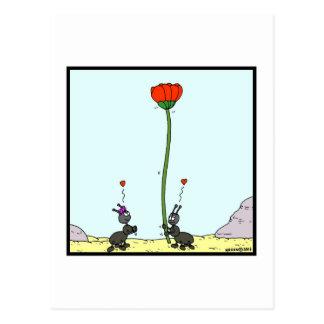 Carte Postale Fourmi dans l'amour : Bande dessinée de fourmi