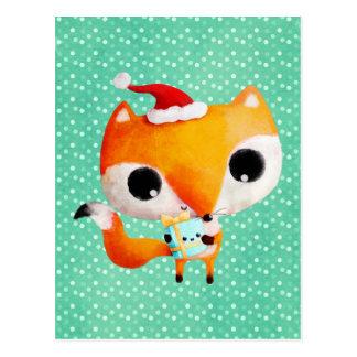 Carte Postale Fox mignon de Noël