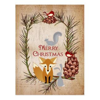 Carte Postale Fox mignon et Noël d'animaux de région boisée