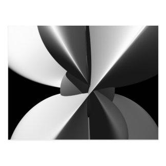 Carte Postale Fractale noire et blanche de faisceau amende