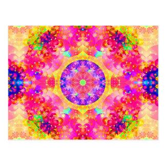 Carte Postale Fractale rose et jaune de kaléidoscope