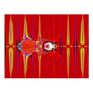 Carte Postale fractale rouge de lueur