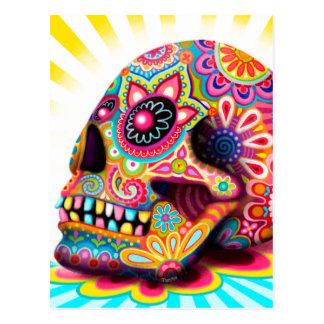Carte postale fraîche d'art de crâne de sucre -