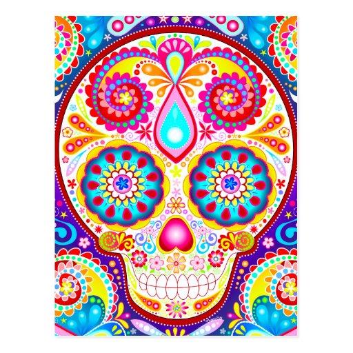 Carte postale fraîche d'art de crâne de sucre - jo