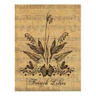 Carte Postale Français botanique antique Lillies
