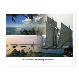 Carte Postale Français France, bateau breton et littoral rocheux