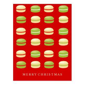 Carte Postale Français rouge Macarons de Noël vert et blanc