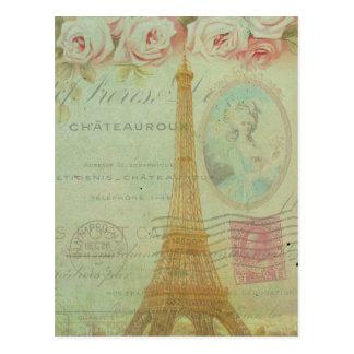 Carte Postale Français vintage de roses de Tour Eiffel de Paris