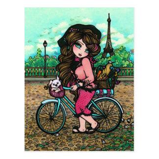 Carte postale française d'art de bicyclette de