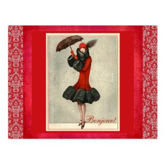 Carte postale française de damassé de mode