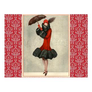 Carte postale française de mode d'aileron vintage