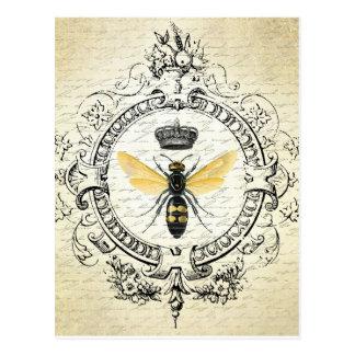 Carte postale française vintage d'abeille