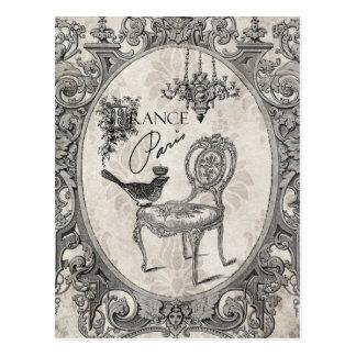 Carte postale française vintage de chaise