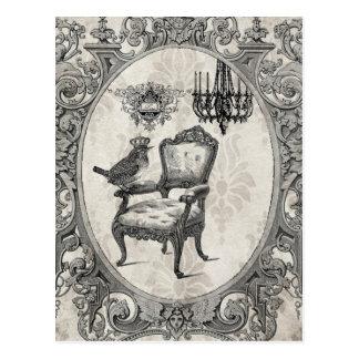Carte postale française vintage de chaise et