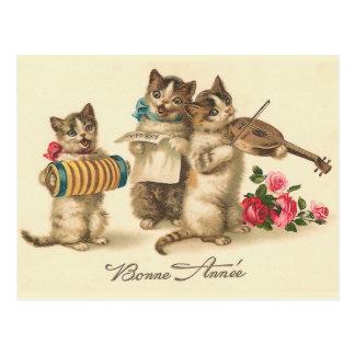 Carte postale française vintage de nouvelle année