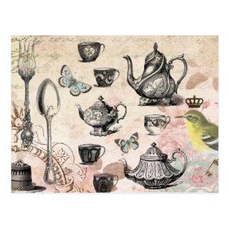 Carte postale française vintage de thé de jardin