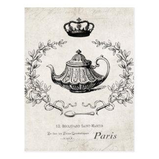Carte postale française vintage de théière