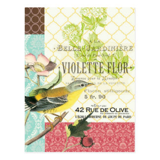 Carte postale française vintage moderne d'oiseau