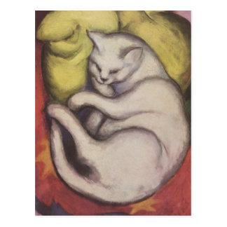 Carte Postale Franz Marc - chat sur un coussin jaune