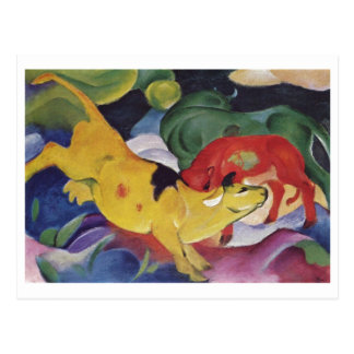 Carte Postale Franz Marc - toile verte rouge de vache au jaune