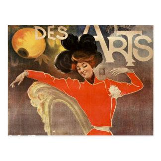 "Carte Postale french retro style post card ""cabaret des arts"""