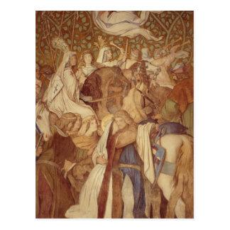 Carte Postale Fresque, Elisabeth-Galerie, château de Wartburg