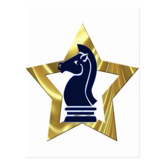 Carte Postale Freux d'étoile d'or d'échecs