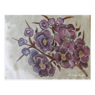 Carte Postale Frida Kahlo a peint des fleurs
