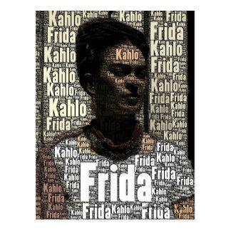 Carte Postale Frida Kahlo marquant avec des lettres le portrait