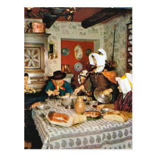 Carte Postale Frnace vintage, Auvergne, repas de famille