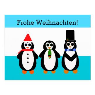 Carte Postale Frohe Weihnachten ! Pingouins avec le coeur