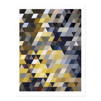 Carte Postale Frontière bleue de triangles de jaune géométrique