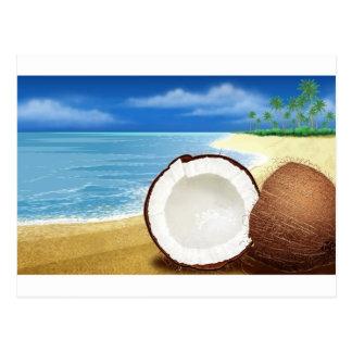 Carte Postale Fuite de noix de coco