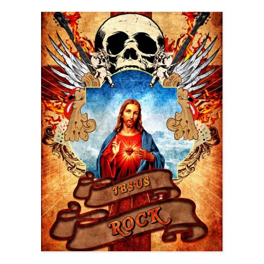 Carte Postale Funny Jesus rock
