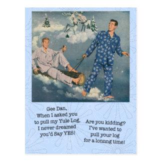 Carte postale gaie drôle de rondin de Noël