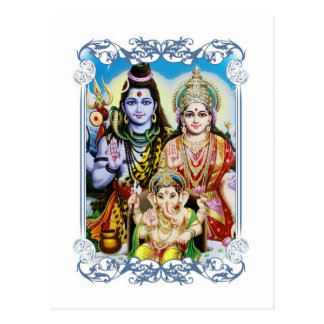 Carte Postale Ganesh, Shiva et Parvati, seigneur Ganesha, Durga
