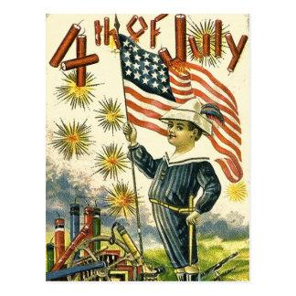 Carte Postale Garçon de drapeau 4 juillet