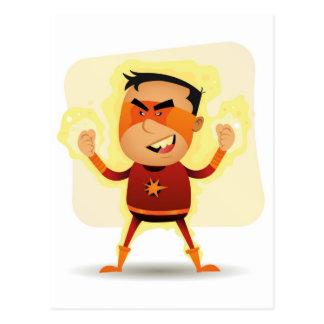 Carte Postale Garçon d'énergie - superpuissance de super héros