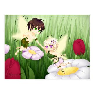 Carte Postale Garçon et fille féeriques mignons de Chibi