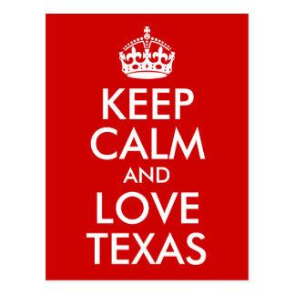 Carte Postale Gardez le calme et aimez le Texas