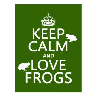 Carte Postale Gardez le calme et aimez les grenouilles (toute