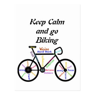 Carte Postale Gardez le calme et allez faire du vélo, avec des
