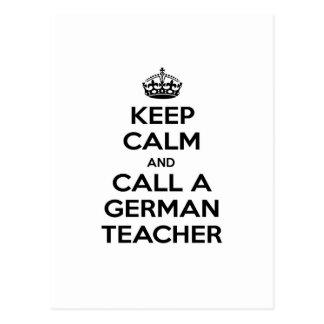 Carte Postale Gardez le calme et appelez un professeur allemand