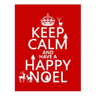 Carte Postale Gardez le calme et ayez un Noel heureux (Noël)