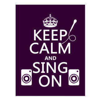 Carte Postale Gardez le calme et chantez sur (le karaoke)