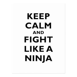 Carte Postale Gardez le calme et combattez comme un Ninja