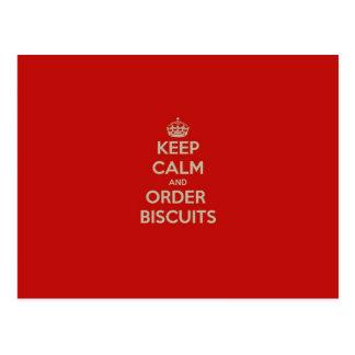 Carte Postale Gardez le calme et commandez les biscuits