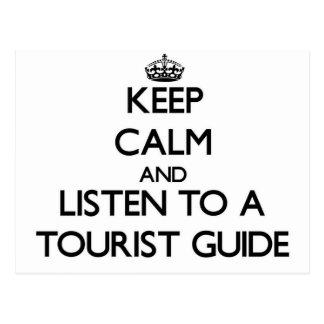 Carte Postale Gardez le calme et écoutez un guide touristique