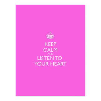 Carte Postale Gardez le calme et écoutez votre coeur